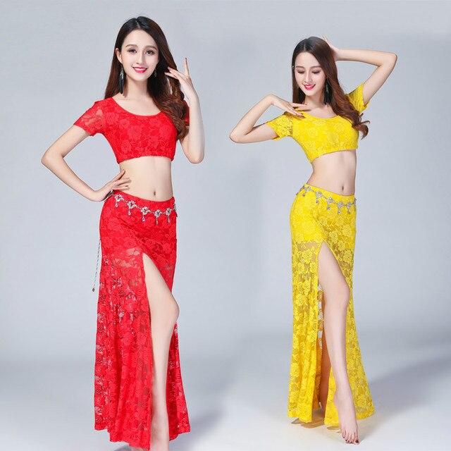 Traje Sexy de encaje para danza del vientre (top + falda), 2 uds./traje, falda dividida de encaje