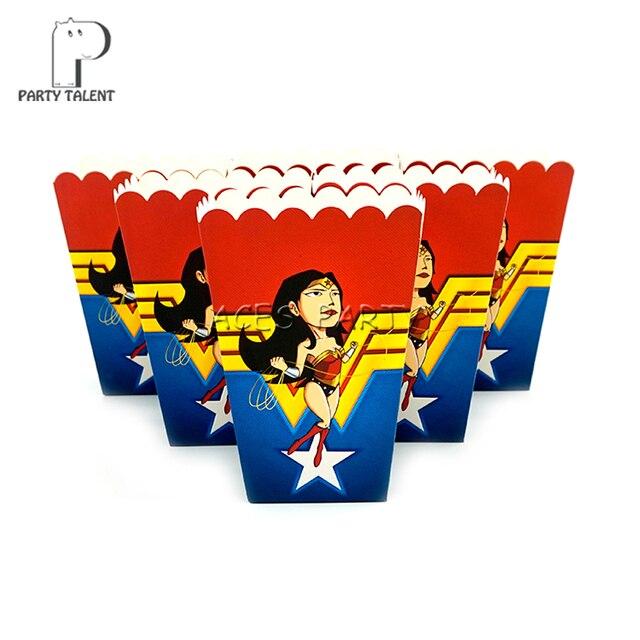 24pcslot Popcorn Box for Kids Children Wonder Woman Theme Birthday