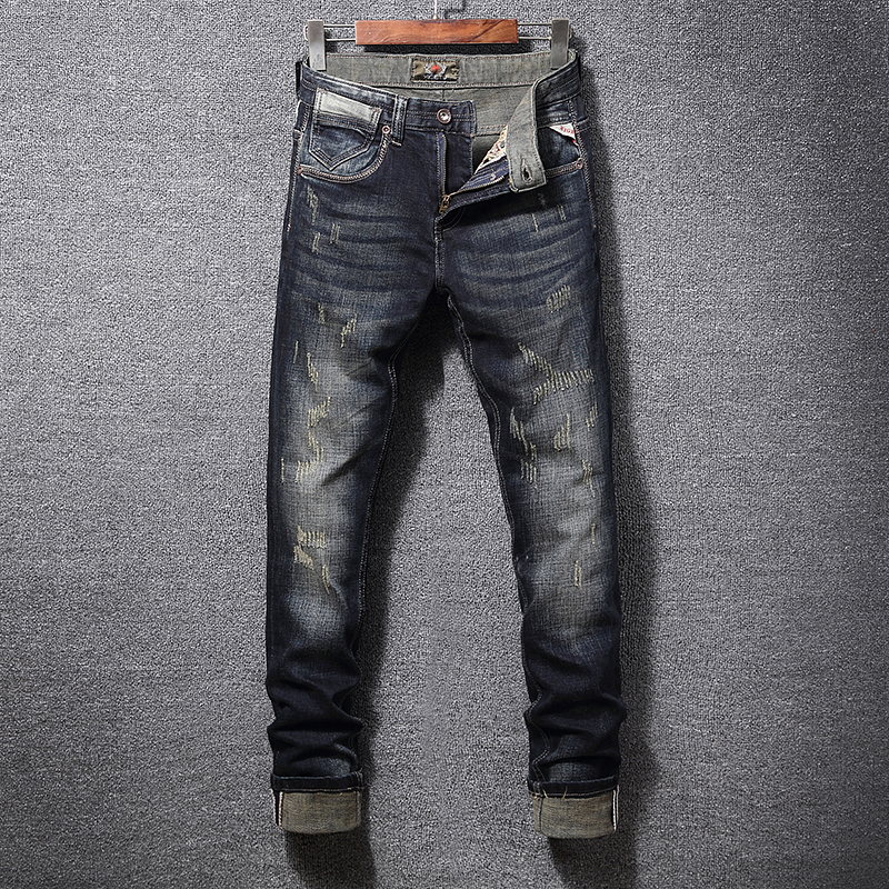 Italian Vintage Style Fashion Men Jeans Slim Fit Retro Washed Ripped Jeans Men Denim Hip Hop Pants Streetwear Classical Jeans