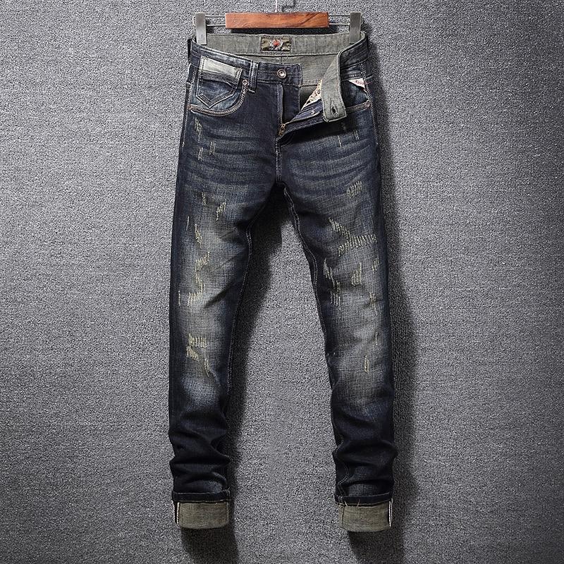 Italian Vintage Style Fashion Men Jeans Slim Fit Retro Washed Ripped Jeans Men Denim Hip Hop Pants Streetwear Classical Jeans