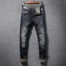 Italian Vintage Style Fashion Men Jeans Slim Fit Retro Washed Ripped Denim Hip Hop Pants Streetwear Classical