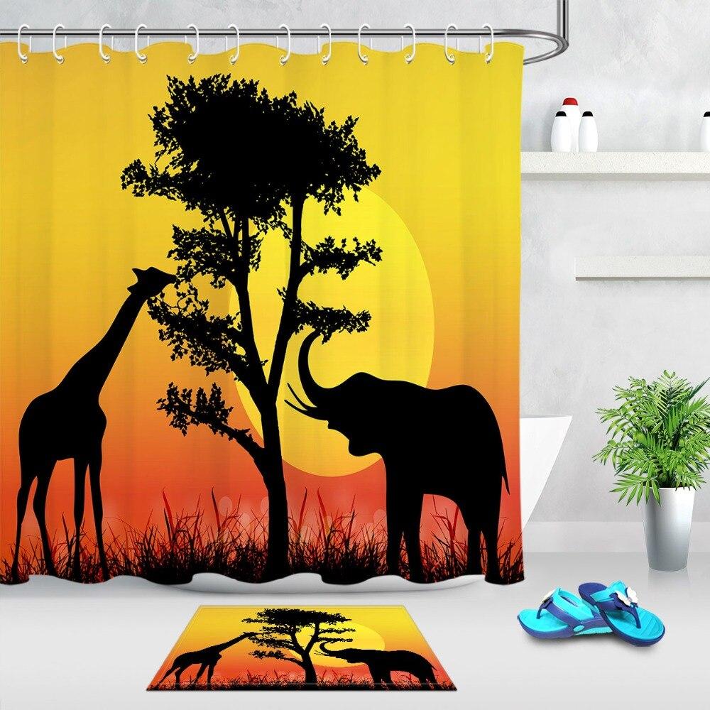 Waterproof Shower Curtain Bathroom Decorative African Beauty Sunset Bath Mat Rug