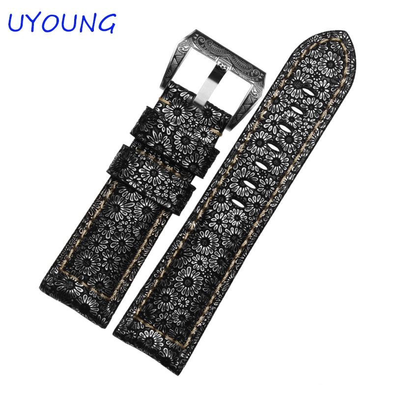 Patrón de pétalos de calidad Correa de reloj de cuero genuino 24 mm 26 mm Hebilla retro de plata esterlina para accesorios de reloj para hombre