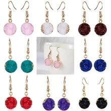Для женщин Модные украшения разноцветная подвеска Натуральный камень серьги минималистичный стиль, геометрия круглые Висячие сережки oorbellen