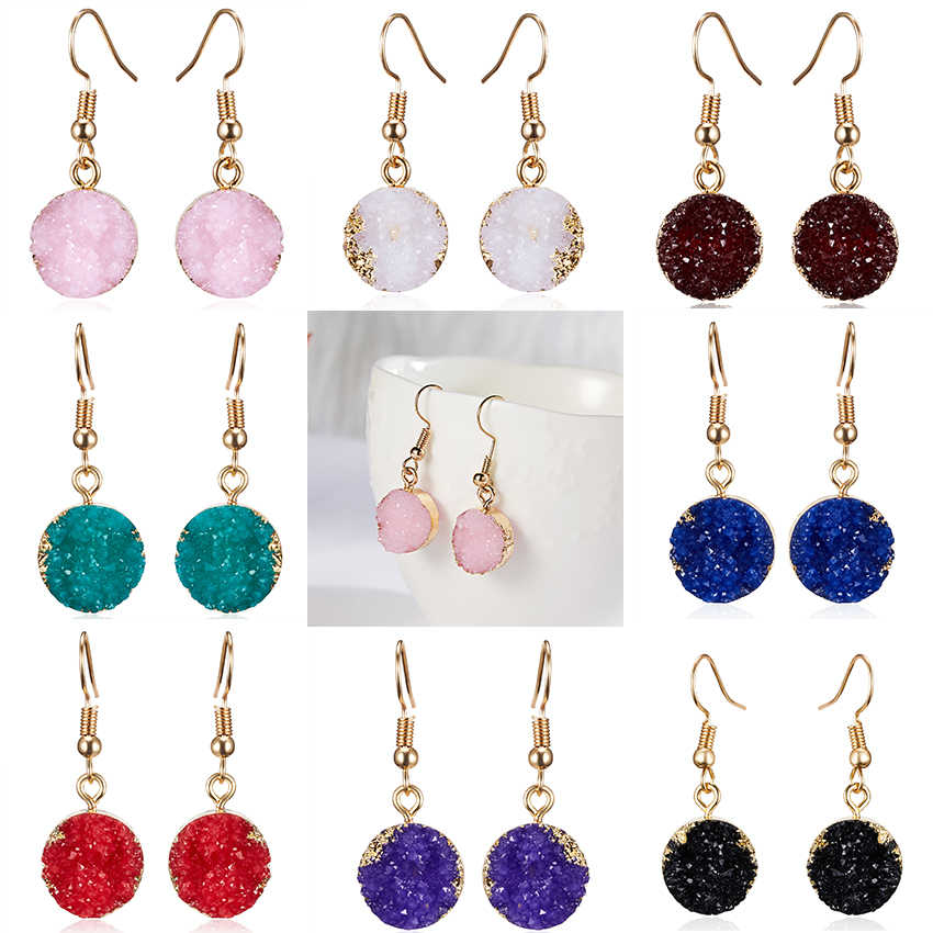 2019 Wanita Fashion Perhiasan Multiwarna Resin Batu Alam Laporan Anting-Anting Minimalis Geometri Bulat Anting-Anting Drop Oorbellen