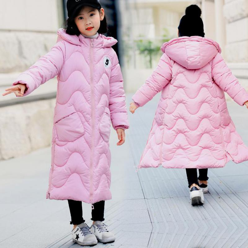 2017 Girls Winter Solid Color Cotton Down Jacket Children Fashion Jacket Child Warm X-Long Hooded Coat Kids Clothes 11 12 13 14 2017 new fashion girls winter warm coat kids jacket hooded snow wear cotton down outerwear girl solid color winter clothes