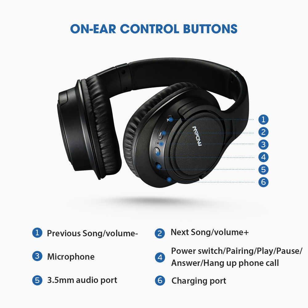 Hot Mpow H7 Bluetooth Headphones Stereo Over Ear Wireless Headphone With Microphone And 13h Playtime For Ios Andriod Table Pc Tv Aliexpress