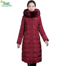 KULAZOPPER Winter Padded 2XL-6XL Women parka coat fur collar wadded Hooded solid jackets thickening female winter coat qw411