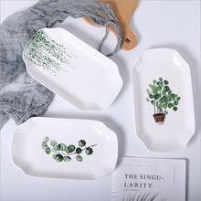 10-12 inch Green Plants Square Ceramic Plate Porcelain Beef Dishes Dessert Dish Fruit Cake Tray Food Dinnerware Gift 1pc
