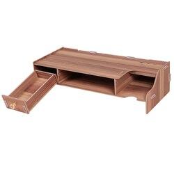 Деревянная подставка для монитора, компьютерный стол, органайзер с клавиатурой, слоты для хранения мыши для офисных принадлежностей, школь...
