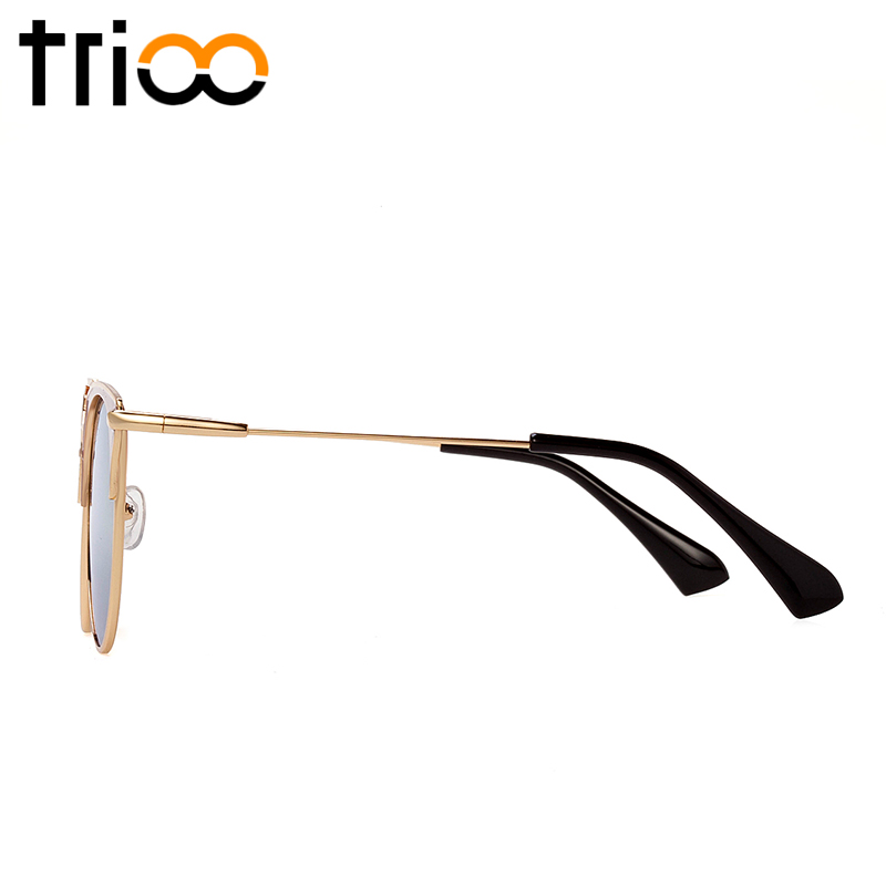 835b69033a ... TRIOO Mirror Rose Gold Women Sunglasses Round Luxury Brand Female Sun  Glasses For Women ...