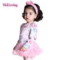 Princess Children Baby Girls Tutu Dress Flower Baby Rompers White Pink Cartoon Birthday Headband Shoes 4Pcs