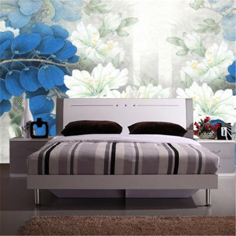 Custom 3D Photo Wallpapers Chinese Style Non-Woven Wall Paper Lily of the Valley Blue Flower Wallpapers for Living Room crusade vol 3 the master of machines
