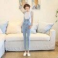 women's elastic jeans pants denim bib pants female spaghetti strap jumpsuit pants 9772