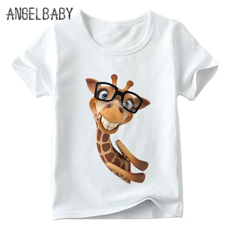 Children Funny Giraffe Cartoon Design T Shirt Boys And Girls Summer Short Sleeve Tops Kids Soft White T-shirt,ooo2159