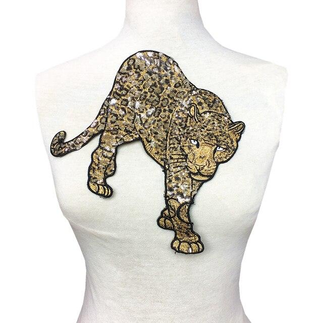 2 шт. леопардовая вышивка бисером нашивка вышивка блестками аппликация с животными вышитые нашивки для одежды нашивки Ropa AC1472