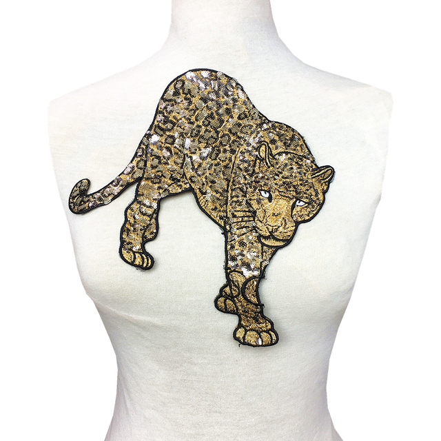 Patch brodé léopard en perles, 2 pièces, à coudre sur paillettes, Appliques danimaux, patchs brodés pour vêtements, AC1472
