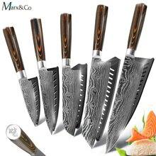 Набор кухонных ножей поварские ножи 7CR17 440C из высокоуглеродистой нержавеющей стали дамасский нож для нарезки мяса сантоку набор из 5 предметов