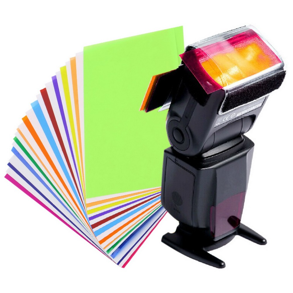 New 12 Pieces Color Card for Strobist Flash Gel Filter Color Balance with Rubber Band Filter Holder Diffuser Lighting Wholesale