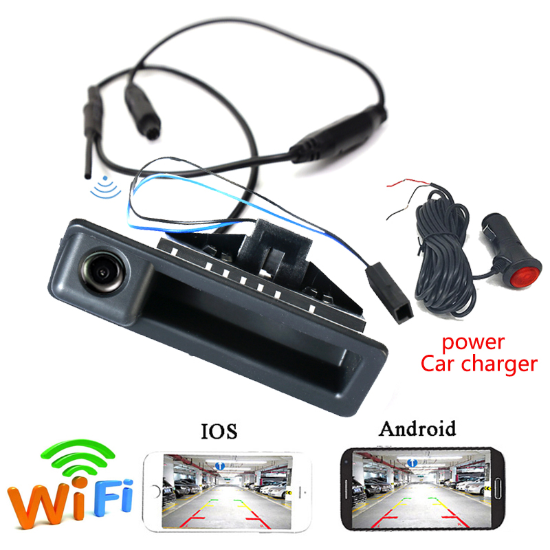 Caméra arrière APP WIFI CCD sans fil pour BMW 3 série 5 X5 X1 E60 E61 E70 E71 E82 E83 E90 E39 caméra de coffre pour Android IOS