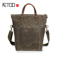 AETOO Oil Wax Waterproof Canvas Handbag Leisure Multifunctional Shoulder Messenger Bag Men Women Universal