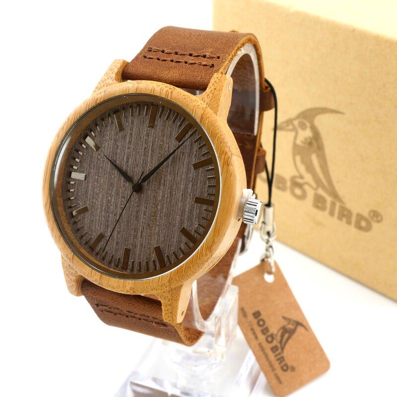 BOBO BIRD A18 Luxury Brand Wood Watches Men Casual Leather Women Bamboo Wristwatch Relogio Masculino Hombre 2016 luxury brand bobo bird men s women dress