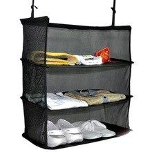 Black 3 Layers Portable Travel Storage Bag Hook Hanging Organizer Wardrobe Clothes Convenient Rack Holder Suitcase Shelves