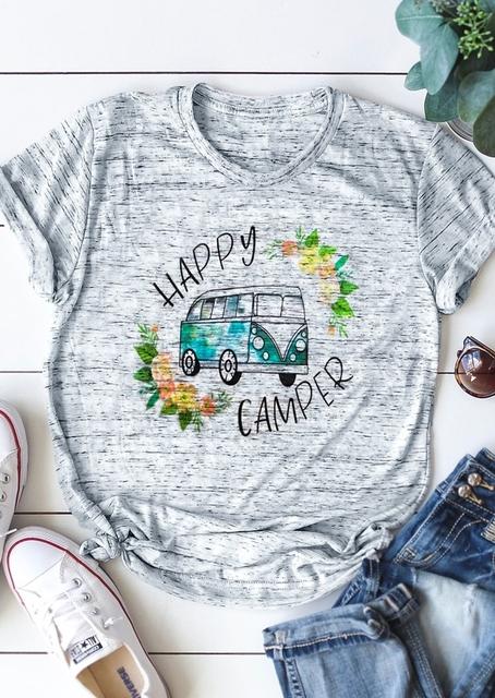 Happy Camper Bus Floral Print Tee