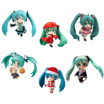 Figura de Anime japonés Hatsune Miku Brinquedos selección de personajes vocales serie 01 PVC figuras de acción Juguetes para niños 6 unids/set