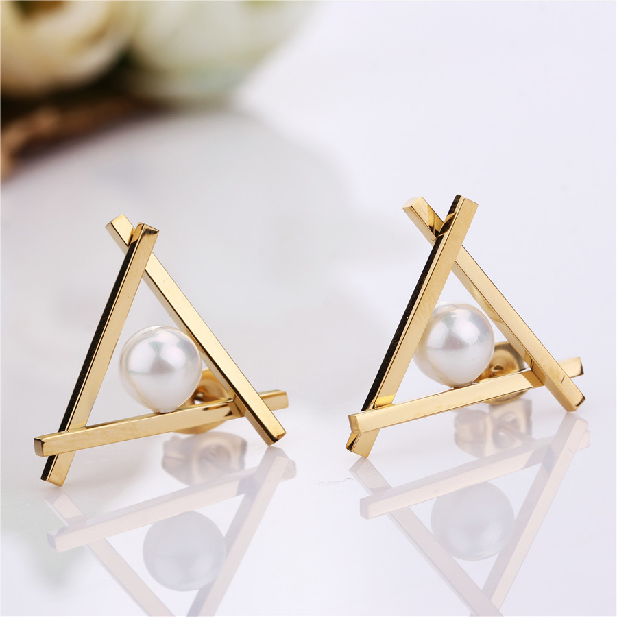 Stainless Steel Triangle Pretty Designer Women Stud Pearl Earrings Pvd Gold  Filled Rose Silver Wholesales Trendy