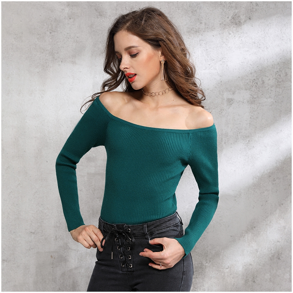 Autumn Women Knitted Pullover Sweater Slash Neck Long Sleeve Solid Sexy Slim Sueter Mujer Chompas De Mujer Para El Invierno