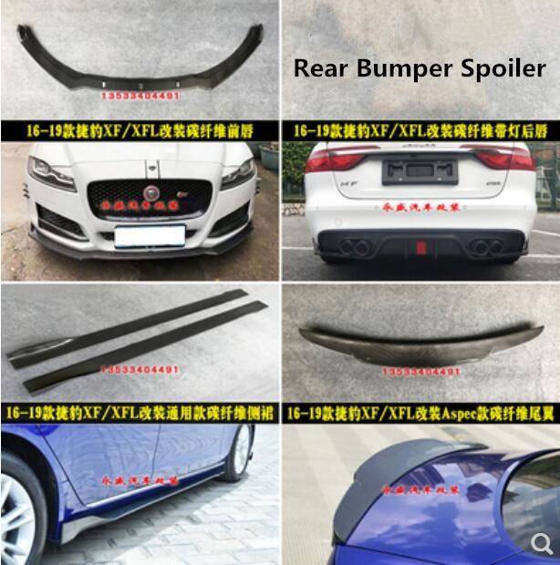 XF Car Carbon Fiber Bumper Diffuser Spoiler Lip +Car Side Skirt + Car Spoiler Fits For Jaguar XF XFL 2016 2017 2018 2019