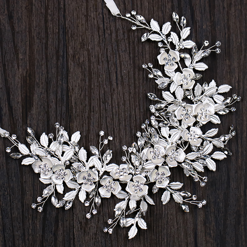 цена Silver Floral Bridal Headband Tiara Wedding Hair Accessories Handmade Hair Vine Crystal Headband Hair Jewelry For Bride