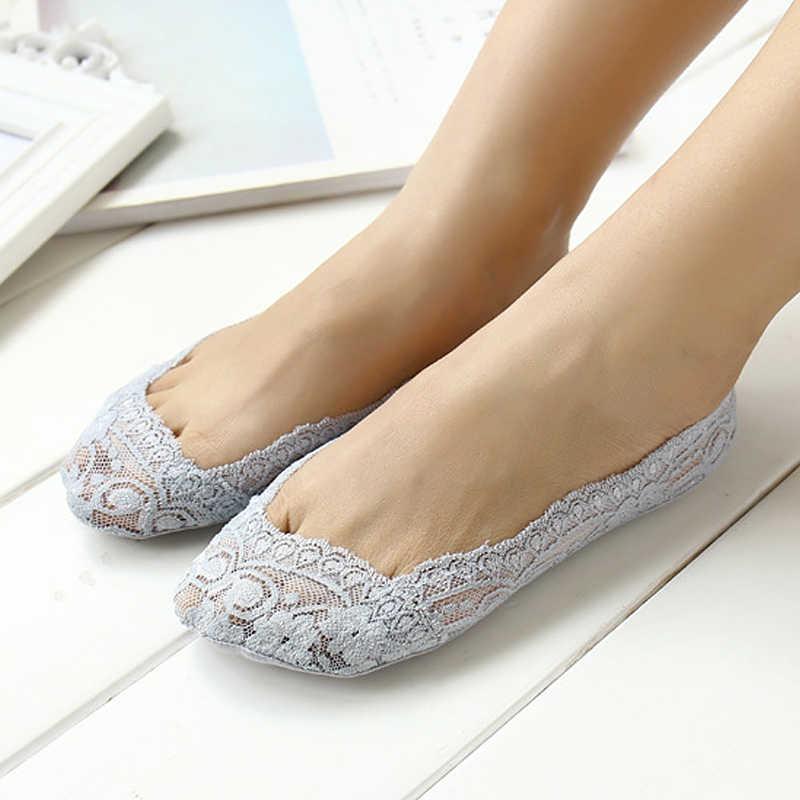 Sexy Black Lace Boot Sokken Zomer Mode Vrouwen Meisjes Antislip Onzichtbare Loafer Bootschoenen Low Cut Floor Sokken Slippers
