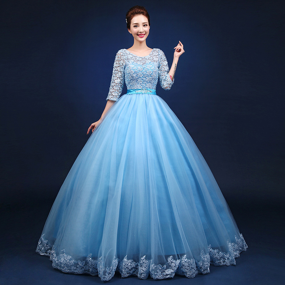 Medieval Renaissance Light Blue And White Gown Dress: Light Blue Full Embroidery Flower Ball Gown Medieval Dress
