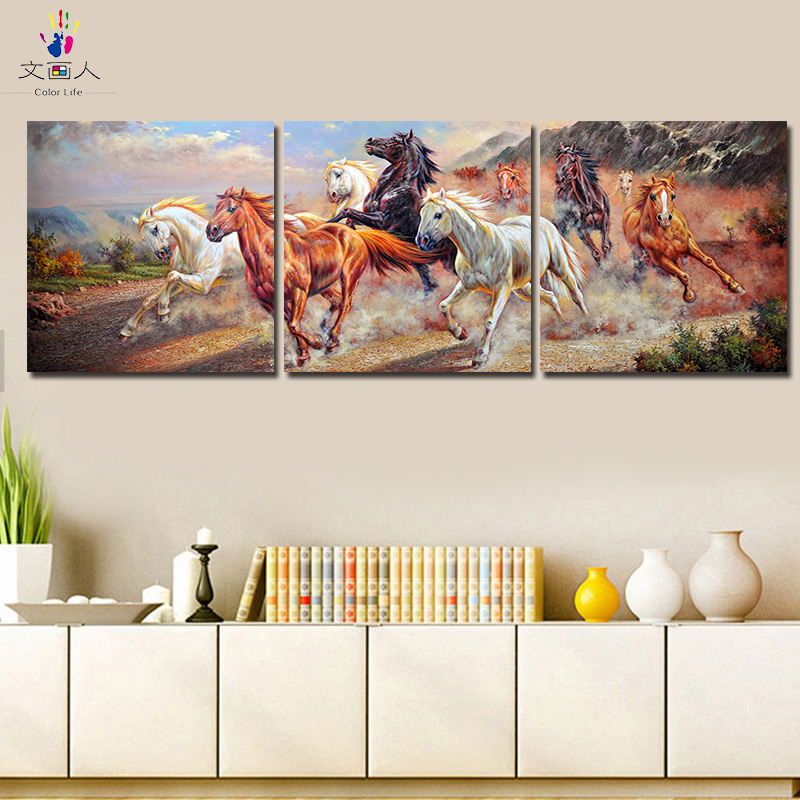 3 Panels 9 horses Running Animals picture painting by numbers with kits package canvas handmade Hanging painting for hoom decor