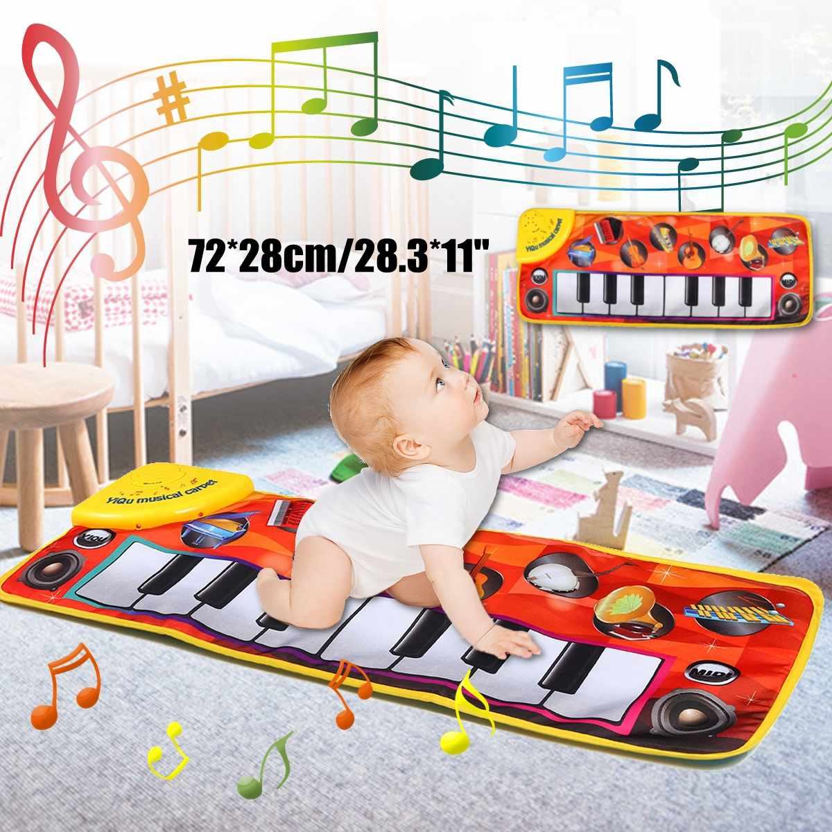 72x28cm Kids Baby Early Education Music Piano Keyboard Carpet Musical Mat Blanket Touch Play Safety Learn Singing Funny Toy