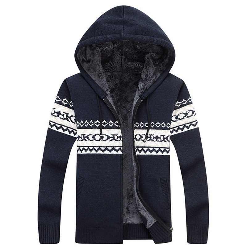 Laamei Men's Plus Fleece Cardigan Sweaters Male Casual Jacquard Knit Sweaters Chinese Style Zipper Men's Fashion Sweater 2018