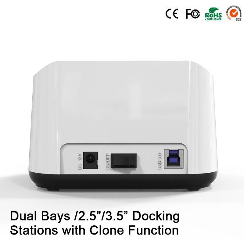 HD05 Amélioré! 2 baies 2.5/3.5USB 3.0 à SATA HDD SSD Station d'accueil double baie Station d'accueil avec fonction Clone prise 12 to lecture - 3