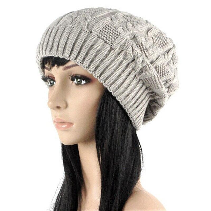 Café hiver plissées Baggy Beanie Tricot Crochet Ski Chapeau Slouch Cap NEW
