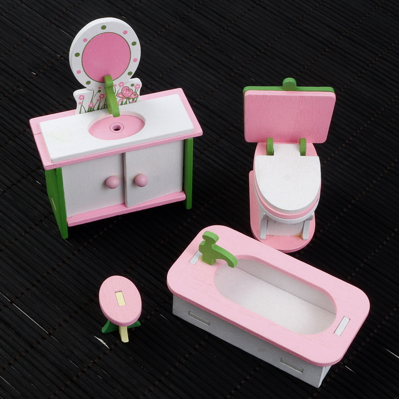 1:16 4pcs/set Miniature Wooden Imitate DollHouse Furniture Household Toys Bathroom Set Washstand Bathtub Closestool