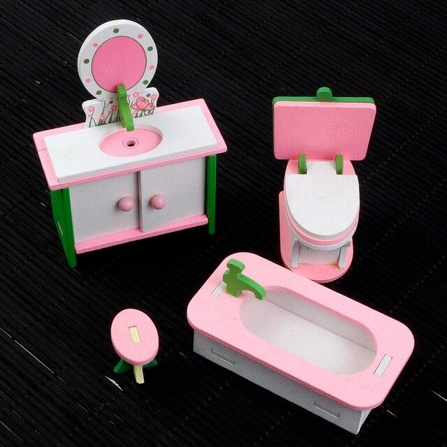 1:16 4pcs/set Miniature Wooden Imitate DollHouse Furniture Household Toys  Bathroom Set Washstand