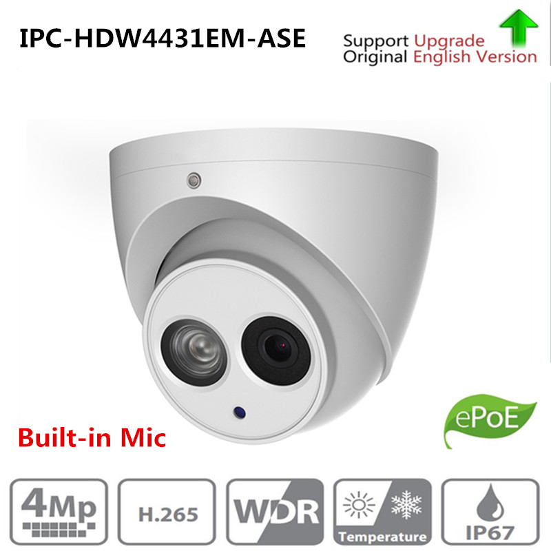 Original DH IPC-HDW4431EM-ASE replace IPC-HDW4231EM-AS 4MP POE IR 50m Eyeball Network Dome Camera Built-in Mic IP Camera цена 2017