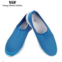 YGF Женщины Лето Плоские Туфли Сетки Дышащие Повседневная Обувь Квартир Женщин Slip-на Мокасины Unisex Пары Обуви Больших размер 34-46