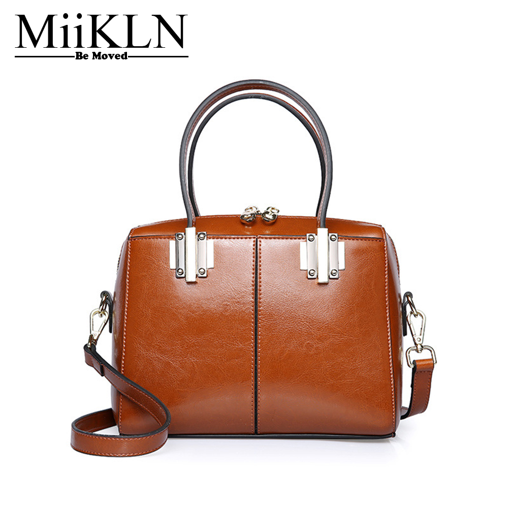 MiiKLN Red Black Brown Pink Blue Cow Split Leather Bag For Women Fashion Women Casual Tote Crossbody Shoulder Handbag Ladies Bag цена