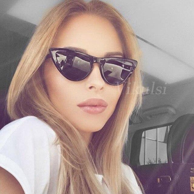 Прохладный Малый Размеры оправа «кошачий глаз» Солнцезащитные очки женские 2017 мода HD Брендовая дизайнерская обувь, женские солнцезащитные очки, очки Винтаж черный, розовый оттенки UV400