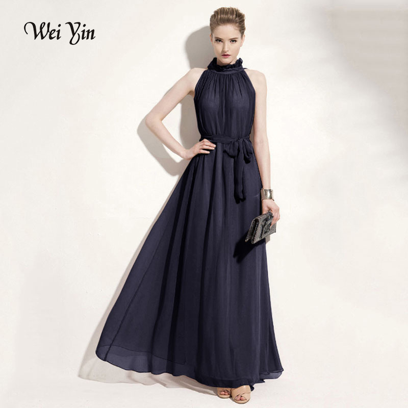 weiyin Long   Evening     Dresses   2019 Women Sexy Chiffon Round Neck Wedding Events Lacy Ruffled Sleeveless Prom Party Formal   Dress