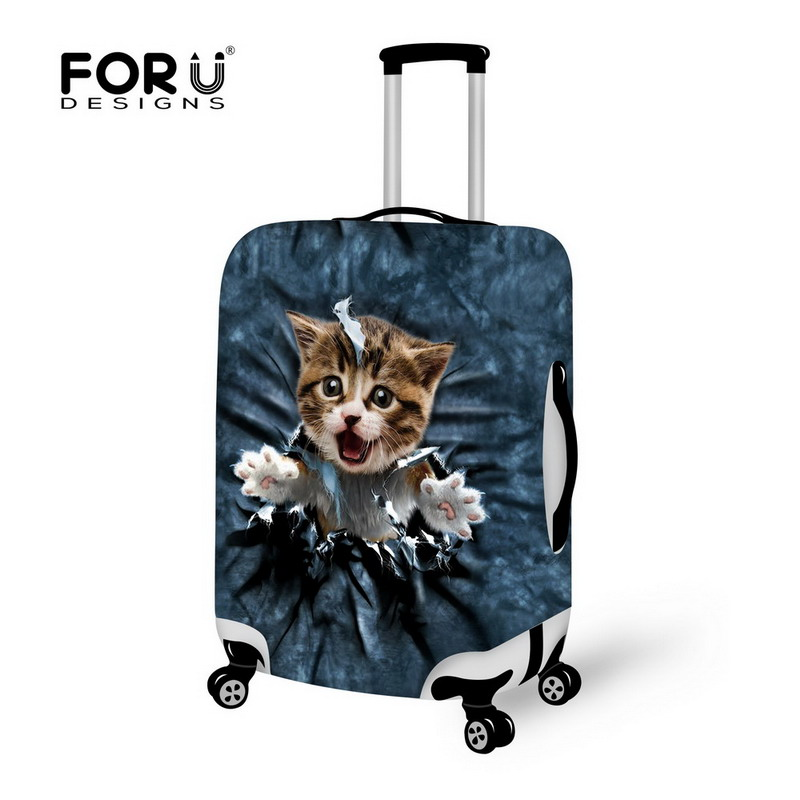 FORUDESIGNS Cute Printing Cat Luggage Cover Elastic Suitcase Cover In 18/20/22/24/26/28 Suitcase Stretch Luggage Accessories