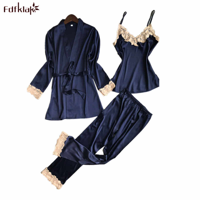 1b569ababb Fdfklak 2018 Spring Women Pyjamas Sexy Sleepwear Female Lace Pajamas for Women  High Quality Elegant Lady s