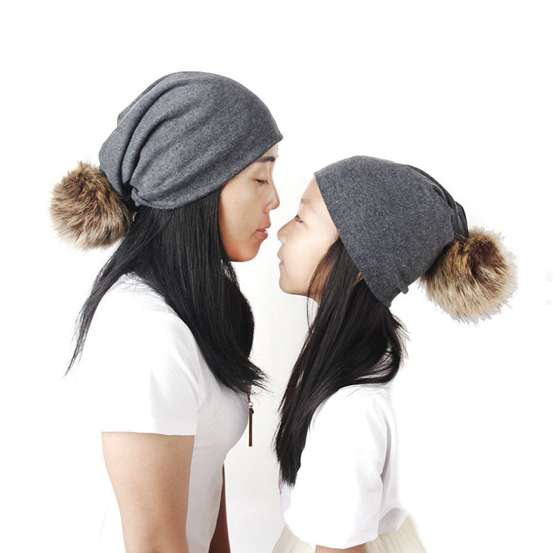 1a2f62e0a3569 Mother Daughter Matching Hats Kintted Pompom Warm Caps Family Look Mommy and  Me Pom Beanies Woman Casual Hat H0160
